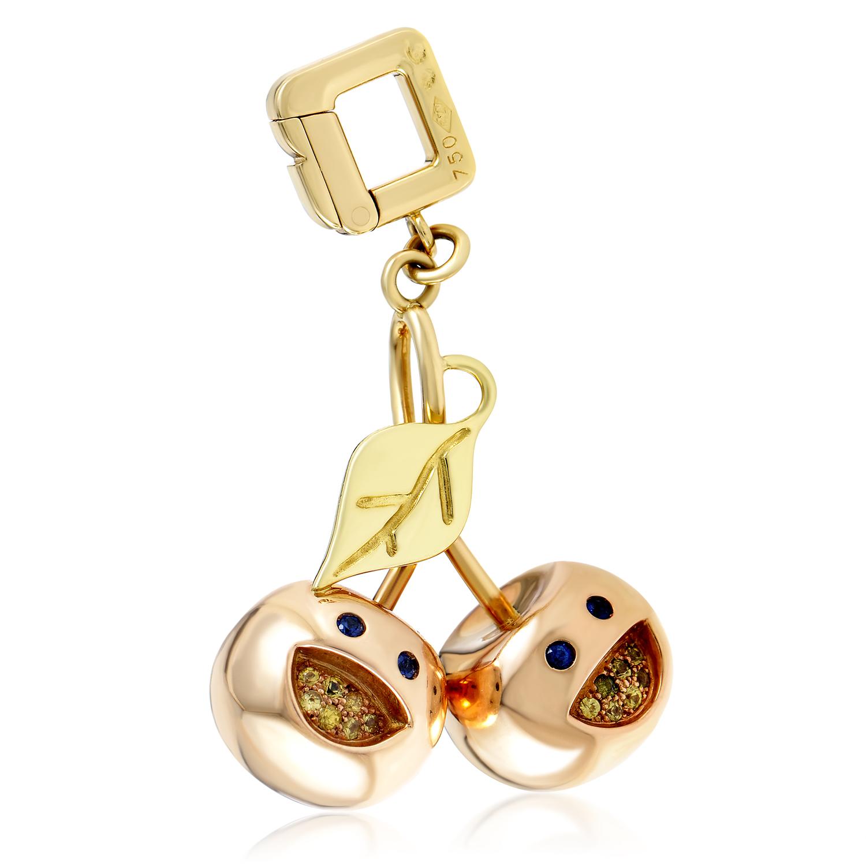 Louis Vuitton Limited Edition 18K Multi-Tone Gold Sapphire Cherry Pendant