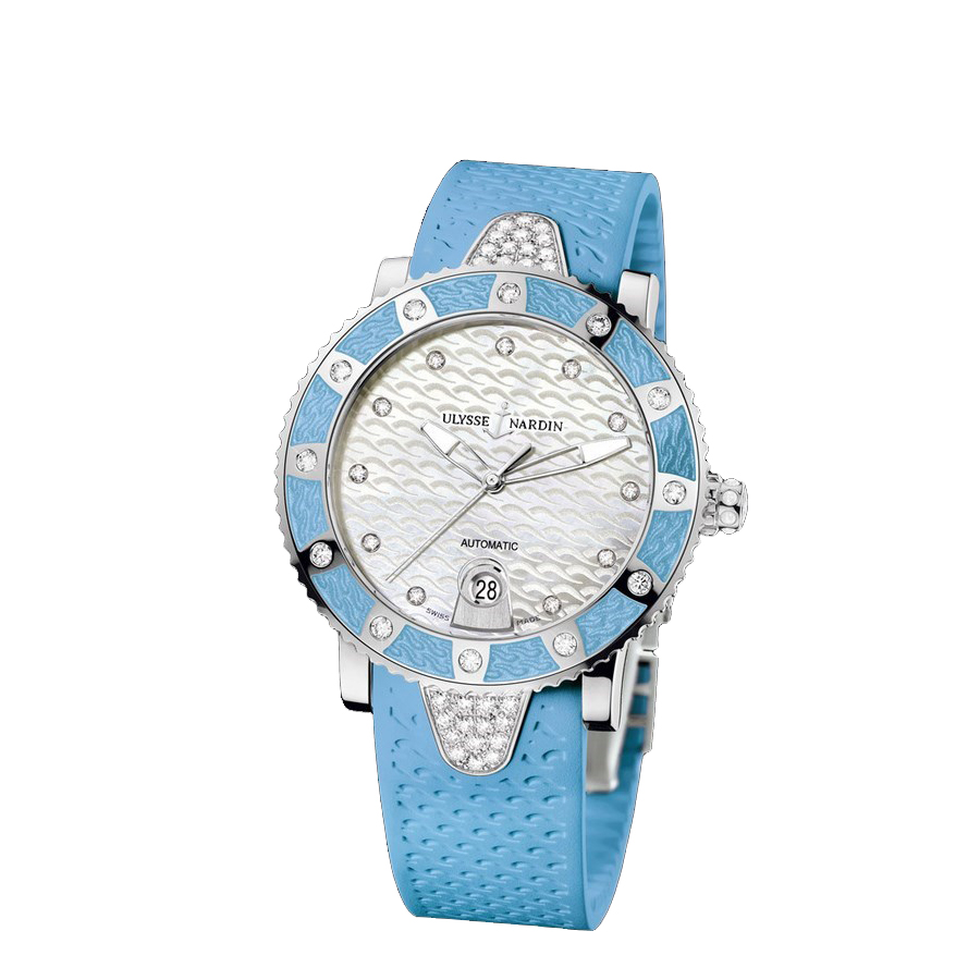 Lady Diver Blue (SS-Diamonds / MOP-Diamonds / Blue Rubber Bracelet)