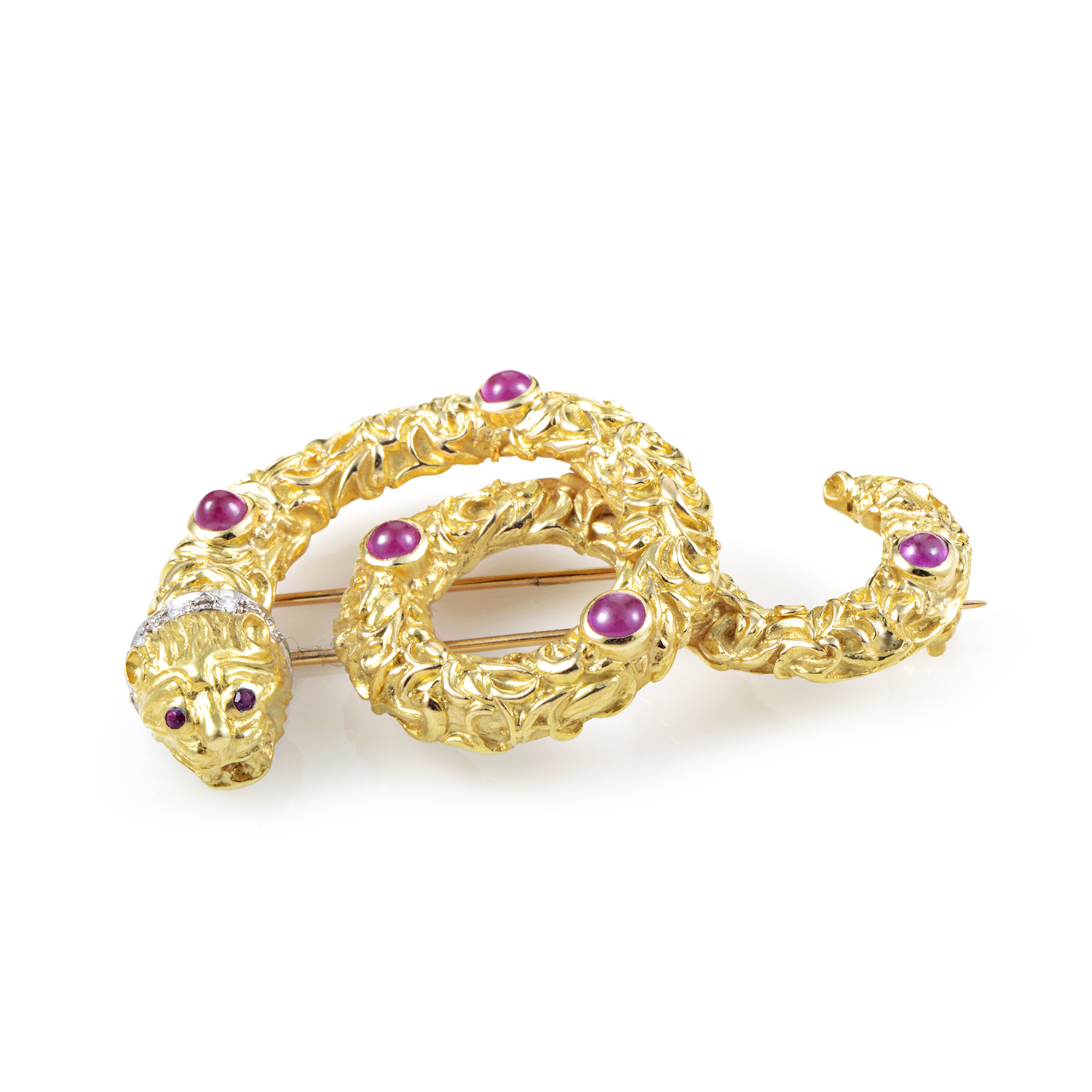 Ilias Lalaounis Women's 18K Multi-Tone Gold Diamond & Ruby Snake Pin