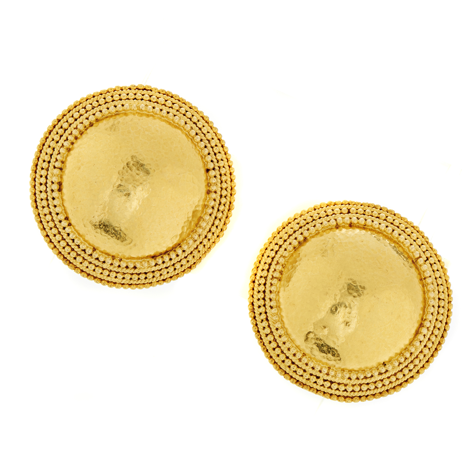 Ilias Lalaounis Women's 18K Yellow Gold Hammered Clip-on Earrings