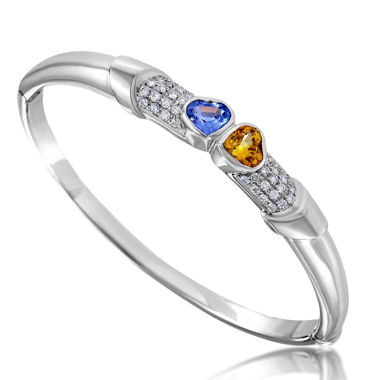 Women's 18K White Gold Diamond & Multi-Sapphire Bangle Bracelet