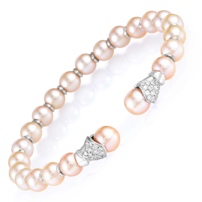Women's 18K White Gold Diamond & Pearl Bangle Cuff Bracelet