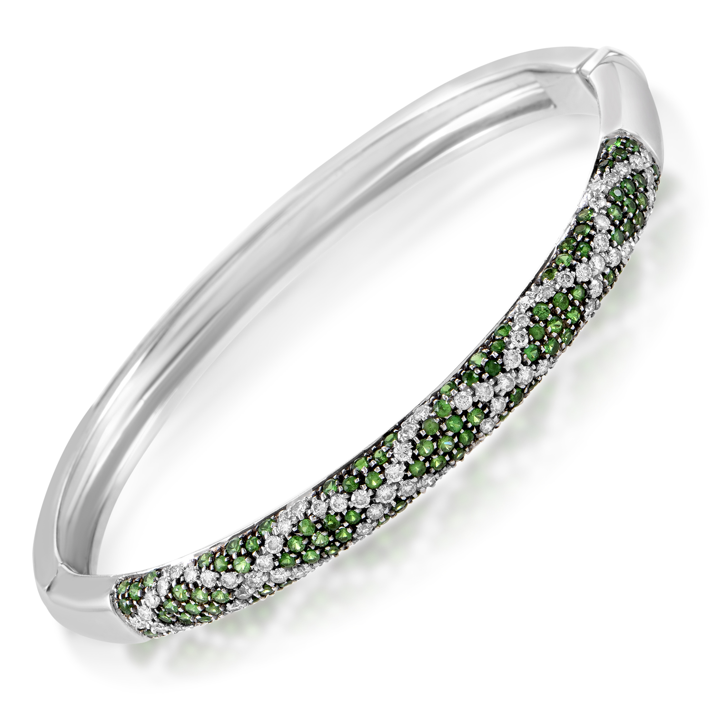 Women's 18K White Gold Diamond & Tsavorite Bangle Bracelet