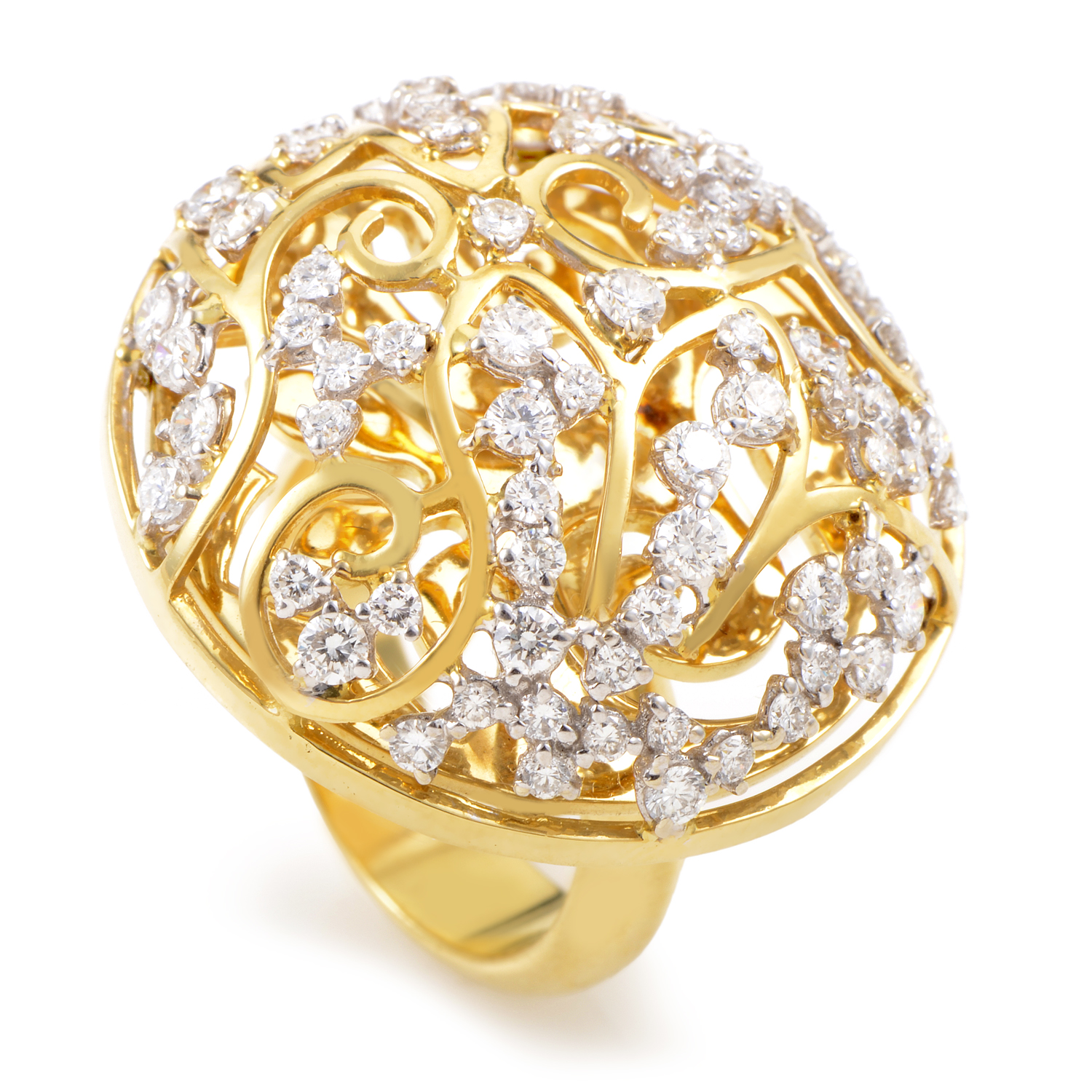 Women's 18K Yellow Gold Diamond Lattice Ring 21878087