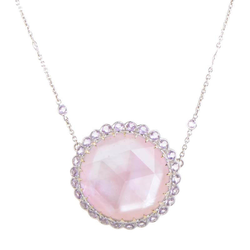 18K White Gold Pink Mother of Pearl & Amethyst Pendant Necklace