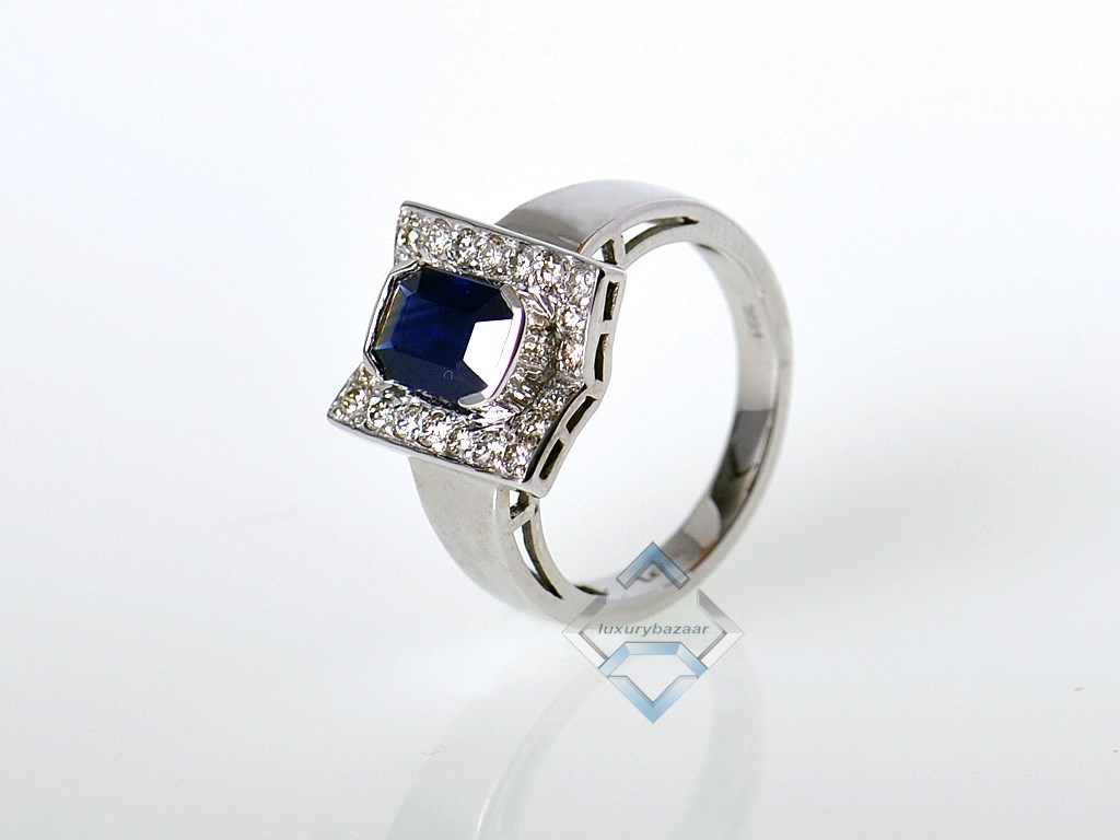 LeVian 14K White Gold Micro Pave Diamond Sapphire Square Ring