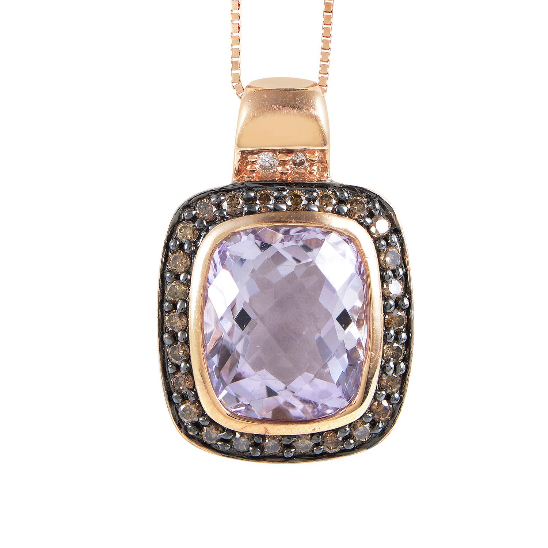 Women's 14K Rose Gold Diamond & Amethyst Pendant Necklace LEV08-072216