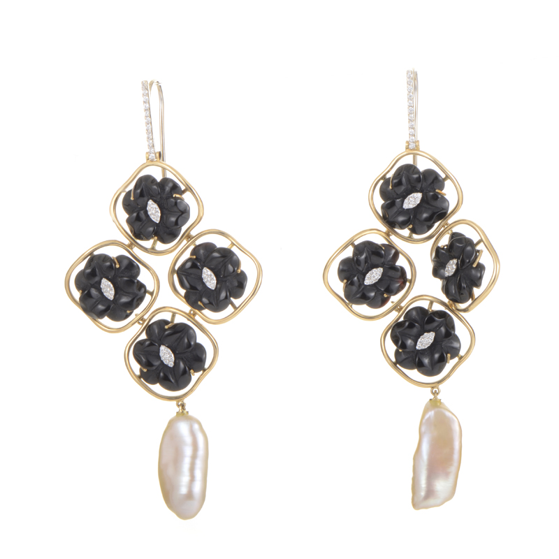 18K Multi-Gold Onyx & Pearl Chandelier Earrings ER8-053360