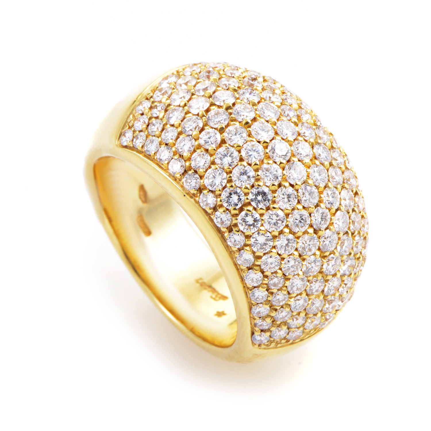 18K Yellow Gold Diamond Pave Dome Ring