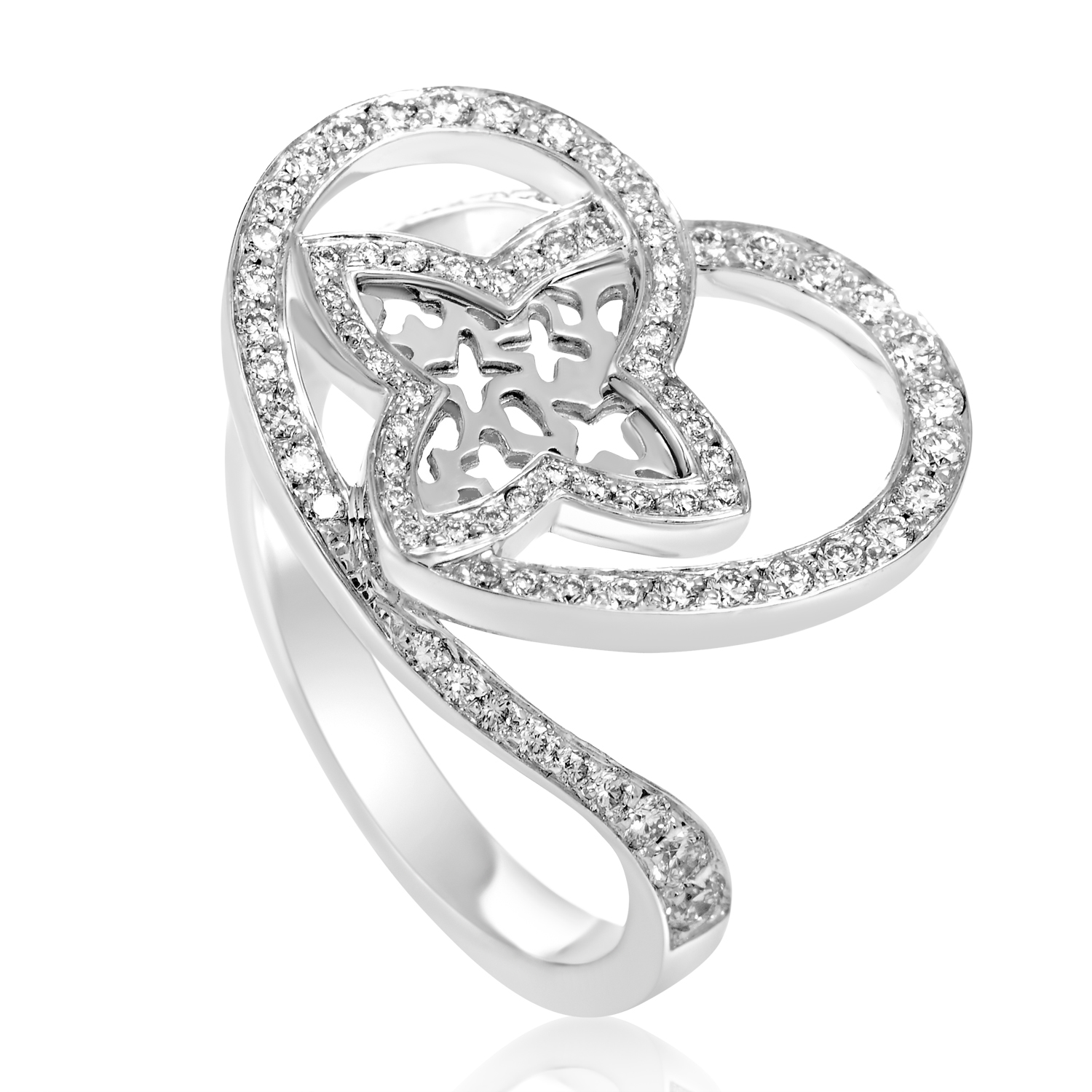 Louis Vuitton Idylle Blossom Women's 18K White Gold Diamond Heart Ring