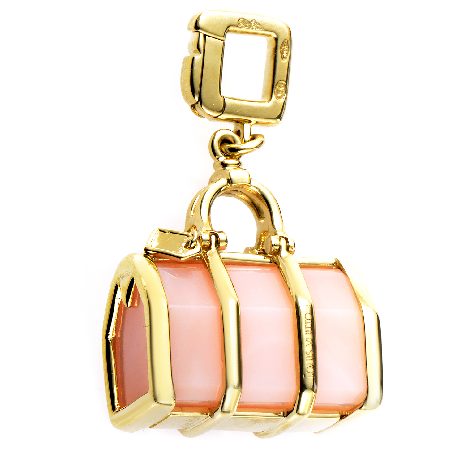 Louis Vuitton 18K Yellow Gold Rose Quartz Bag Charm