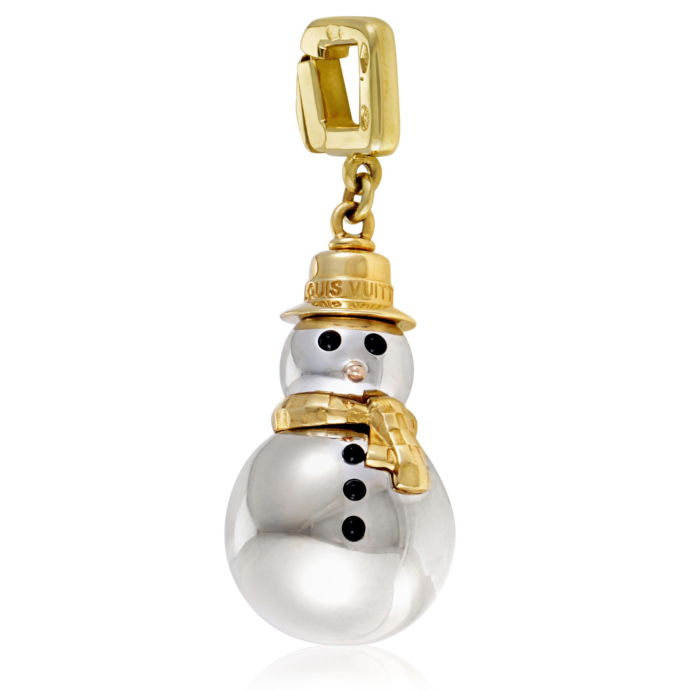Louis Vuitton 18K Multi-Tone Gold & Onyx Snowman Charm