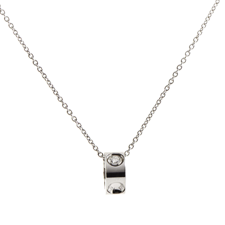 Louis Vuitton Empreinte Women's 18K White Gold Diamond Pendant Necklace