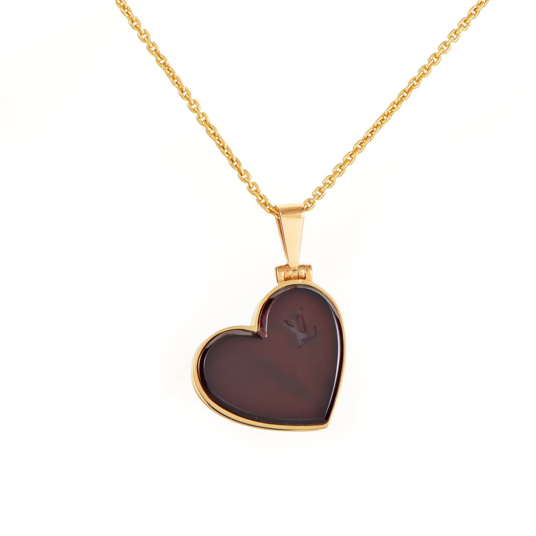 Louis Vuitton 18K Yellow Gold Garnet Heart Locket Pendant Necklace