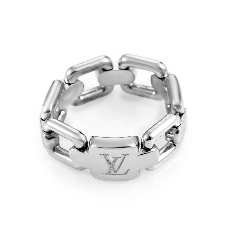 Louis Vuitton Women's 18K White Gold Link Band Ring