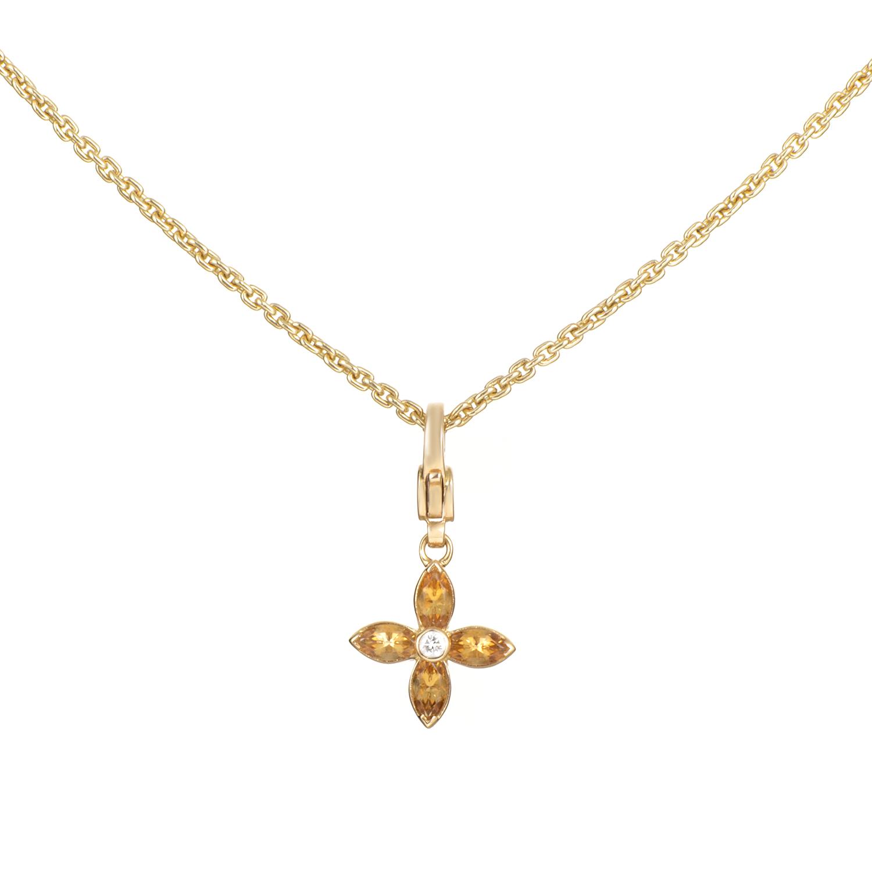 Louis Vuitton Women's 18K Yellow Gold Diamond & Citrine Blossom Pendant Necklace