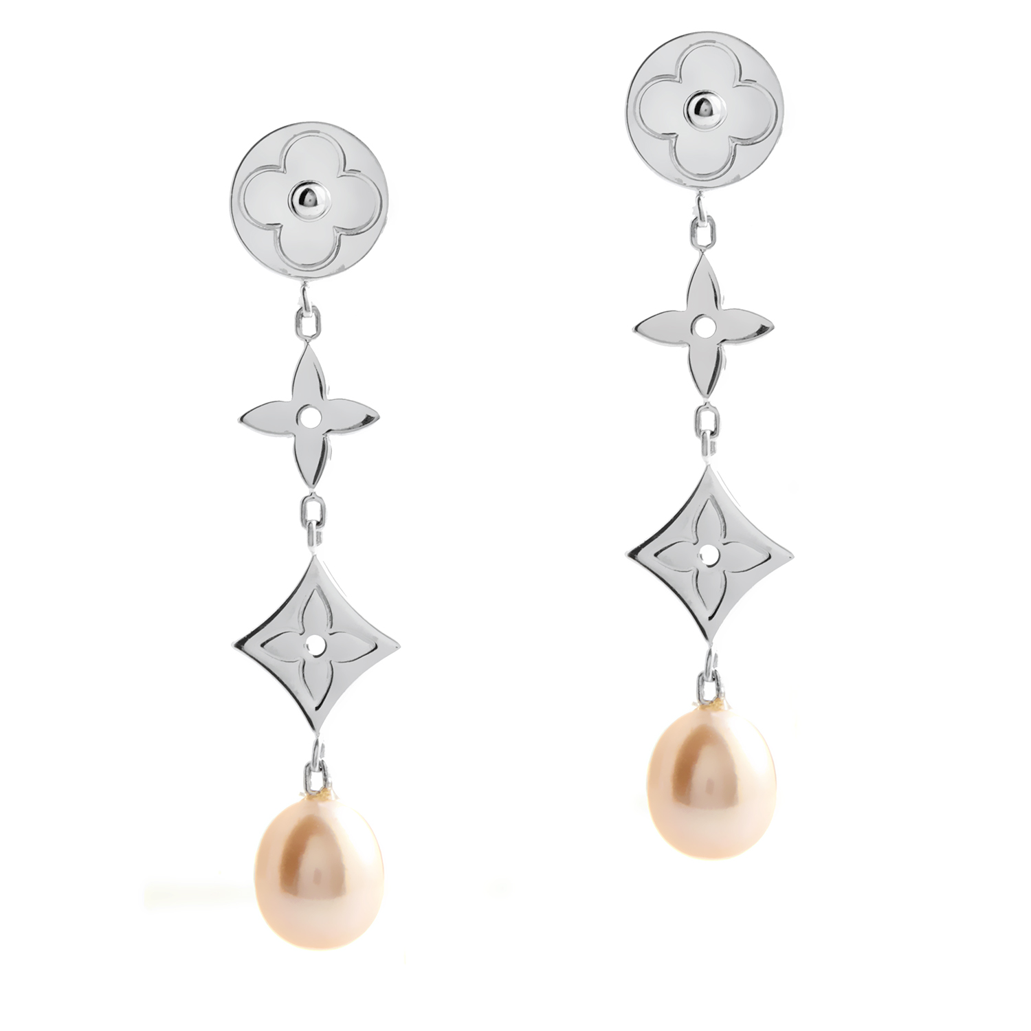 Louis Vuitton Idylle Blossom Women's 18K White Gold Pink Pearl Drop Earrings