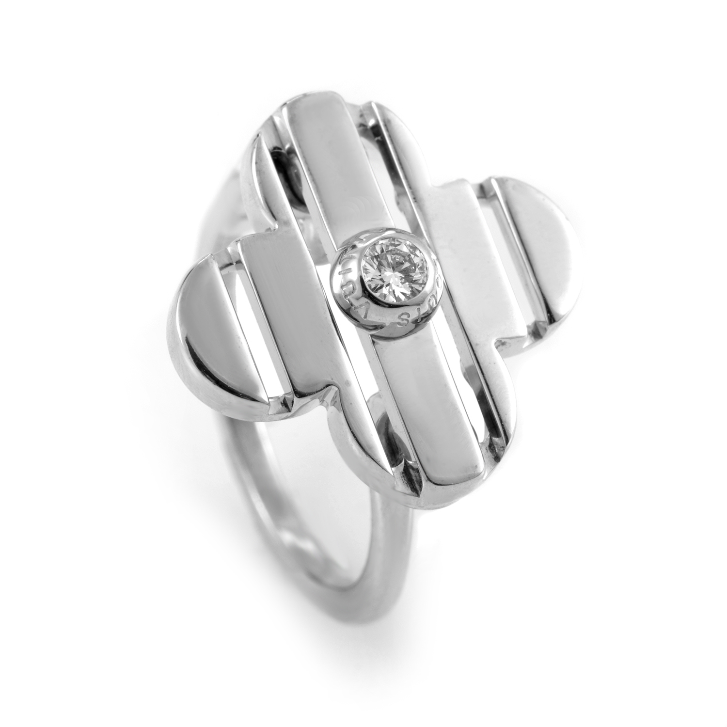 Louis Vuitton 18K White Gold Diamond Petite Fleur Ring