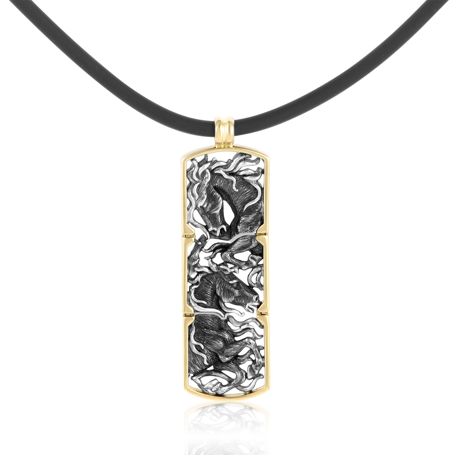 Mustang Yellow Gold & Sterling Silver Pendant and Rubber Cord Necklace