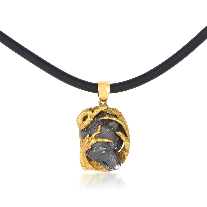 Acecho Women's 18K Gold and Diamond Lobo Pendant & Rubber Cord Necklace