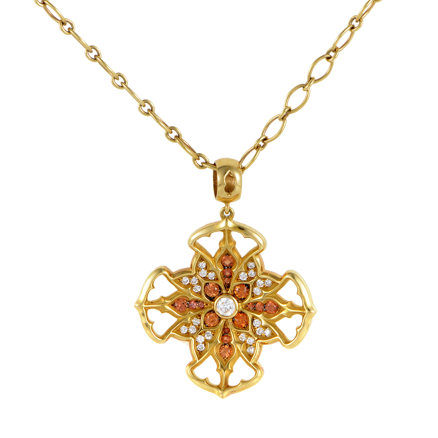 Vitral Vidriera Gold Diamond & Orange Sapphire Cross Pendant Necklace