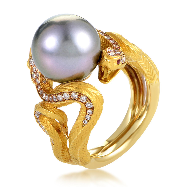 Mythology Women's 18K Yellow Gold Diamond & Gray Pearl Ring