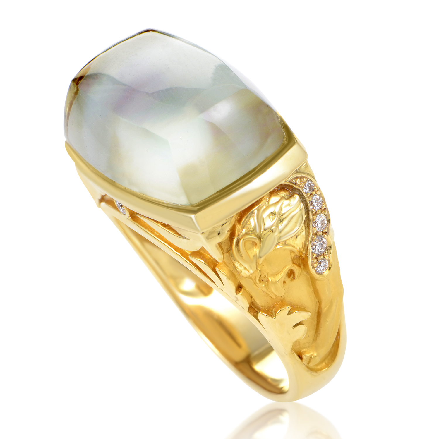 Babylon Caramelo Women's 18K Yellow Gold Diamond & Quartz Ring