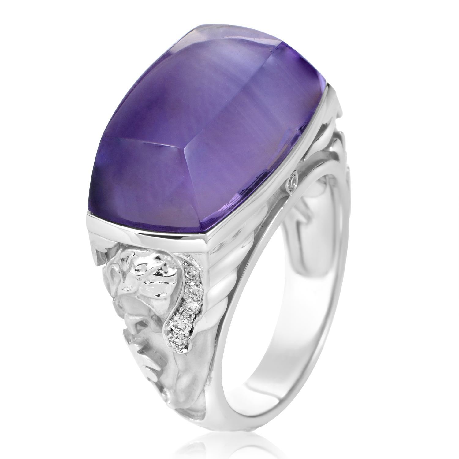 Babylon Caramelo Mini Women's 18K White Gold Diamond & Amethyst Ring