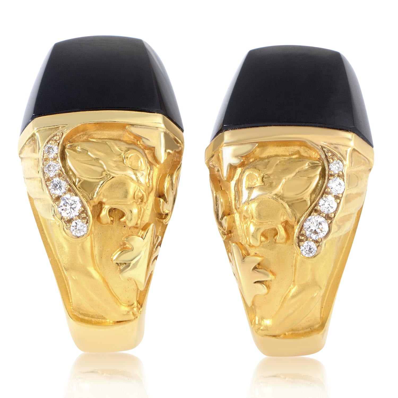 Babylon Women's 18K Yellow Gold Diamond & Onyx Lion Huggie Earrings