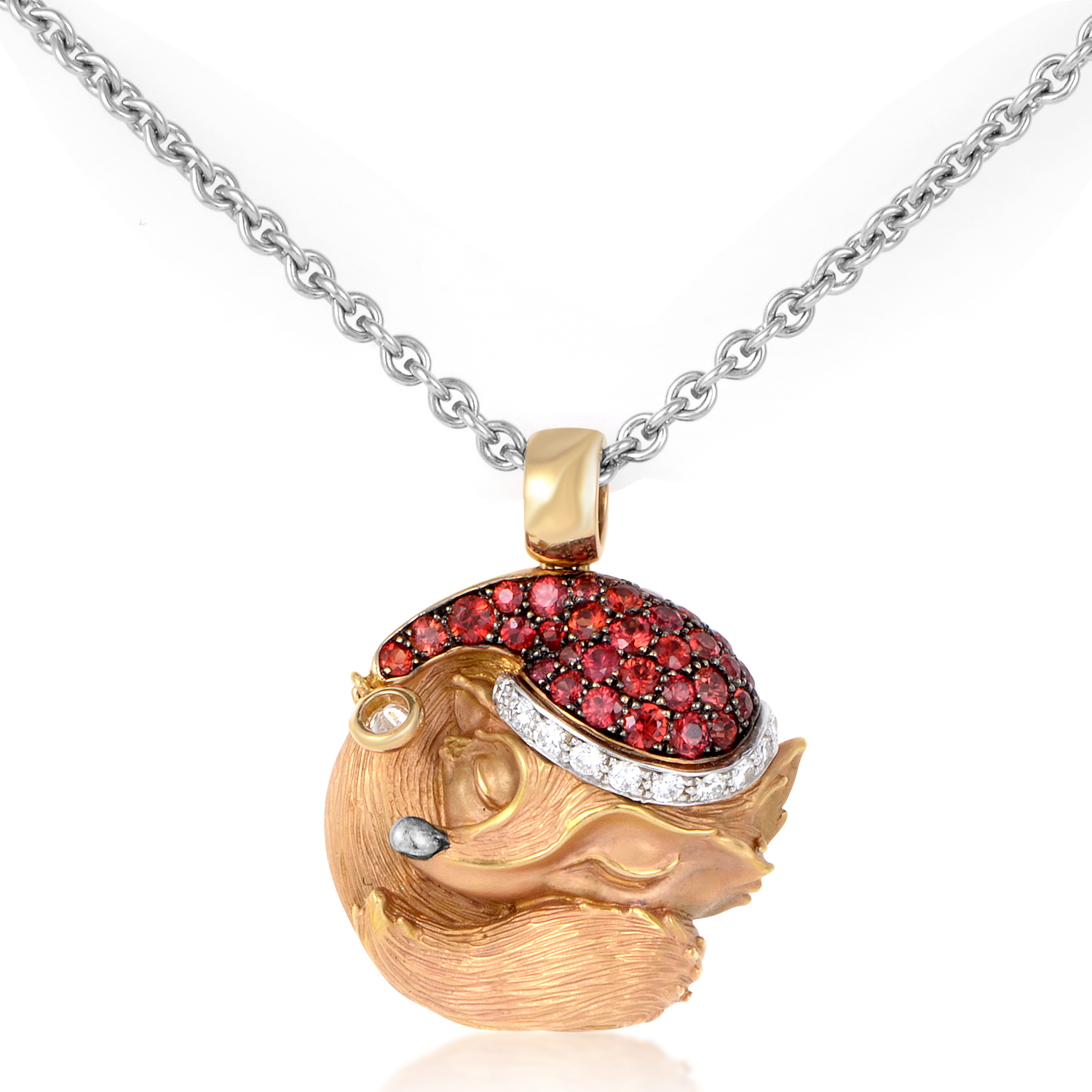 Tender Women's 18K Rose Gold Diamond & Gem Sleeping Fox Pendant Necklace