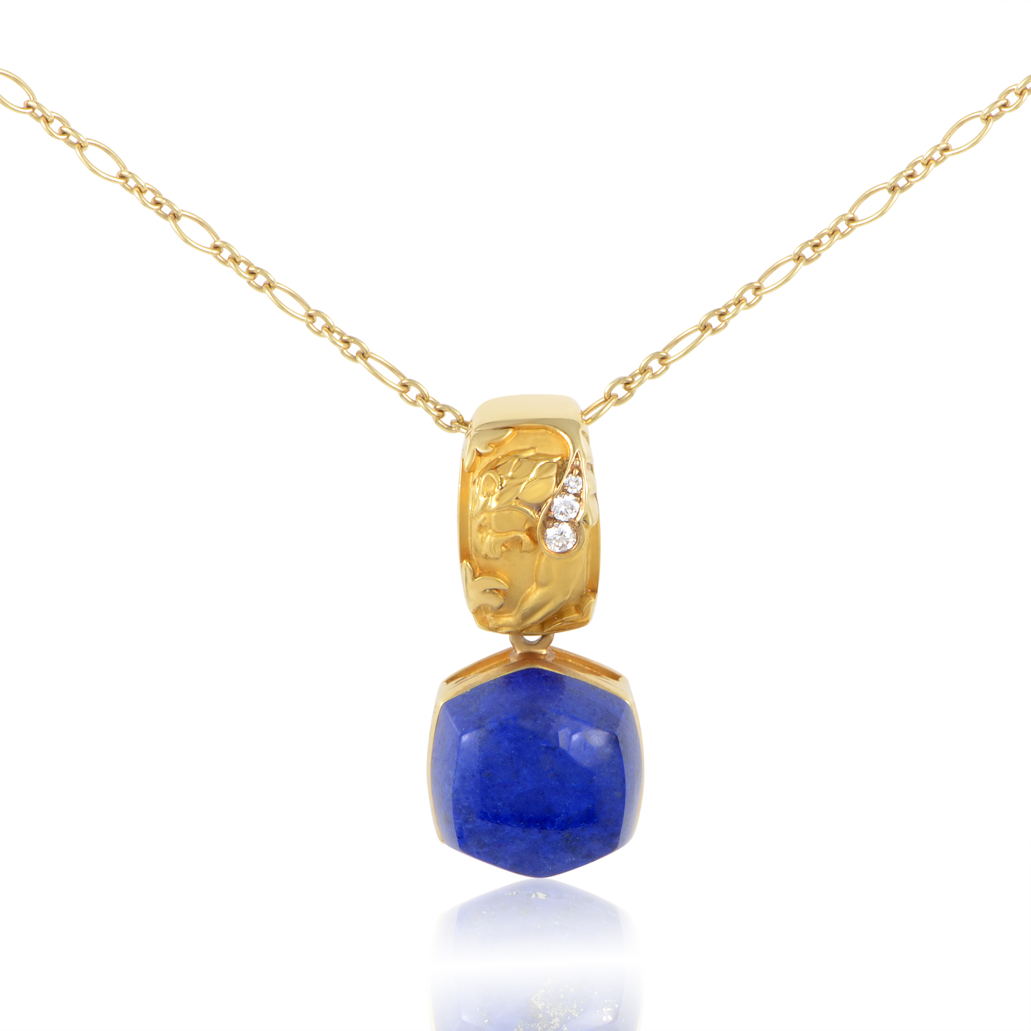 Babylon Caramelo 18K Yellow Gold Diamond & Lapis Lazuli Pendant Necklace