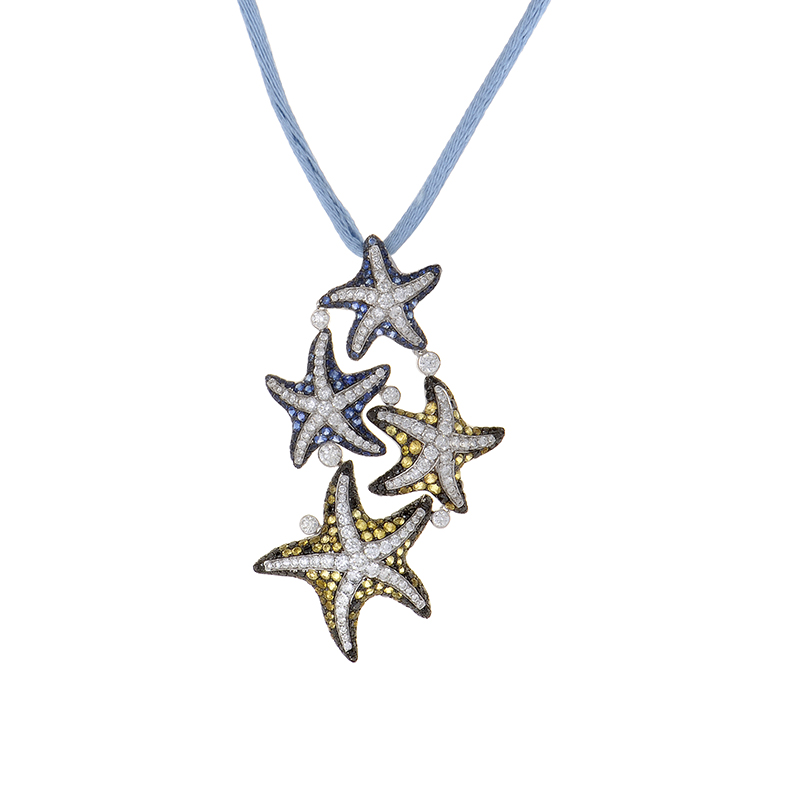 18K White Gold Multi-Sapphire & Diamond Starfish Pendant Necklace