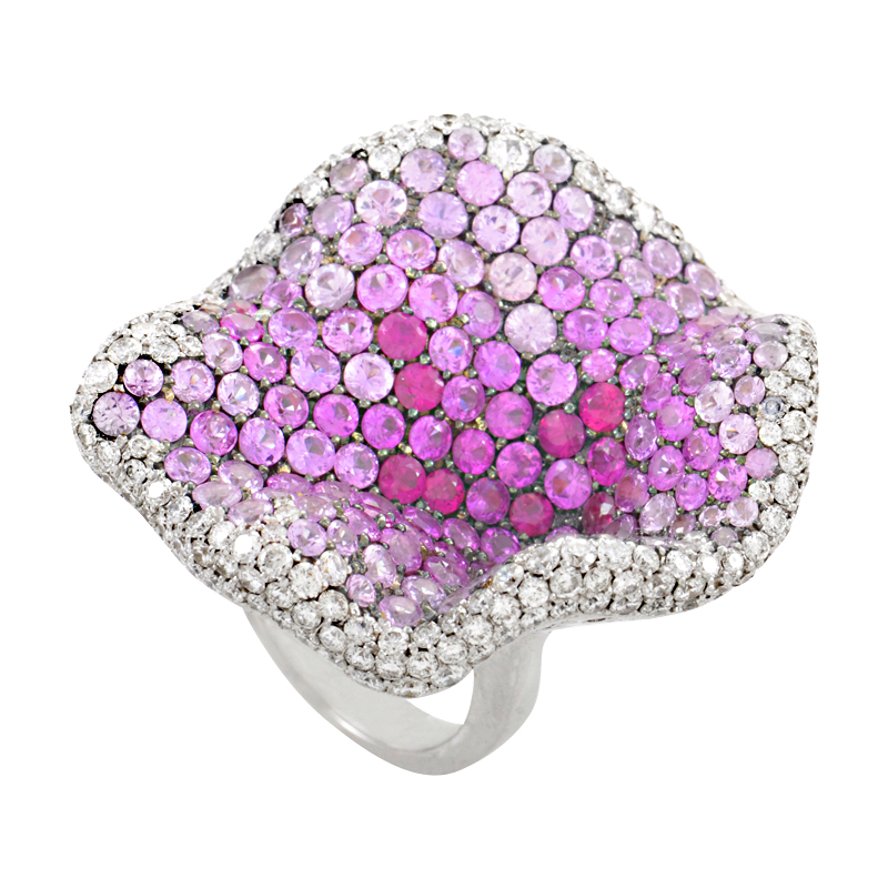 18K White Gold Diamond & Pink Gemstone Cocktail Ring RJ7372RU-PS