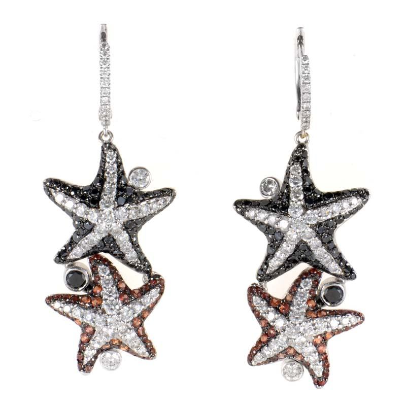 18K White Gold Multi Diamond & Orange Sapphire Starfish Earrings