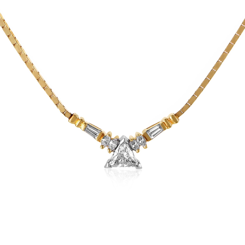 14K Multi-Tone Gold Diamond Pendant Necklace