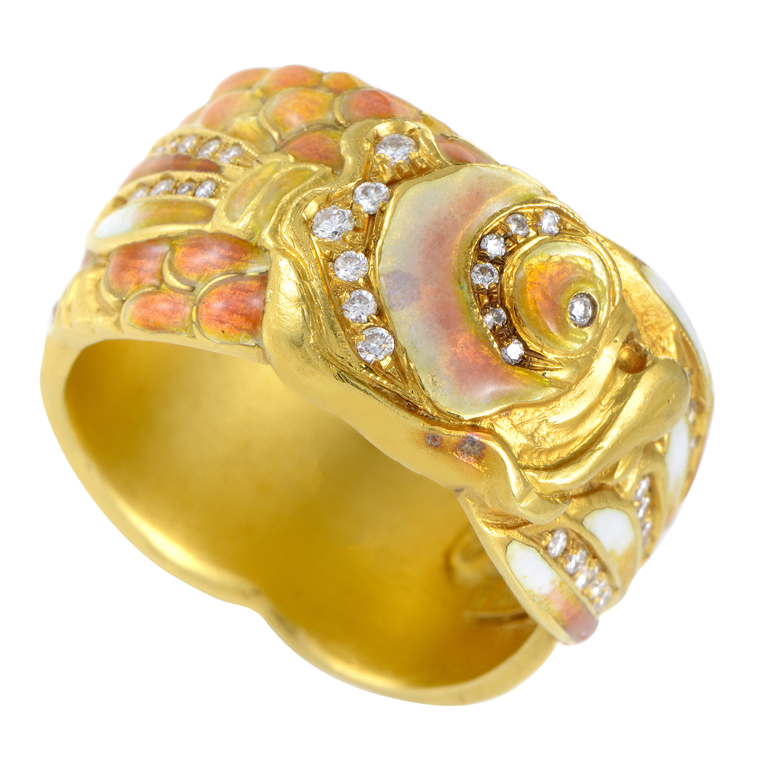 Masriera Women's Enameled 18K Yellow Gold & Diamond Carp Band Ring