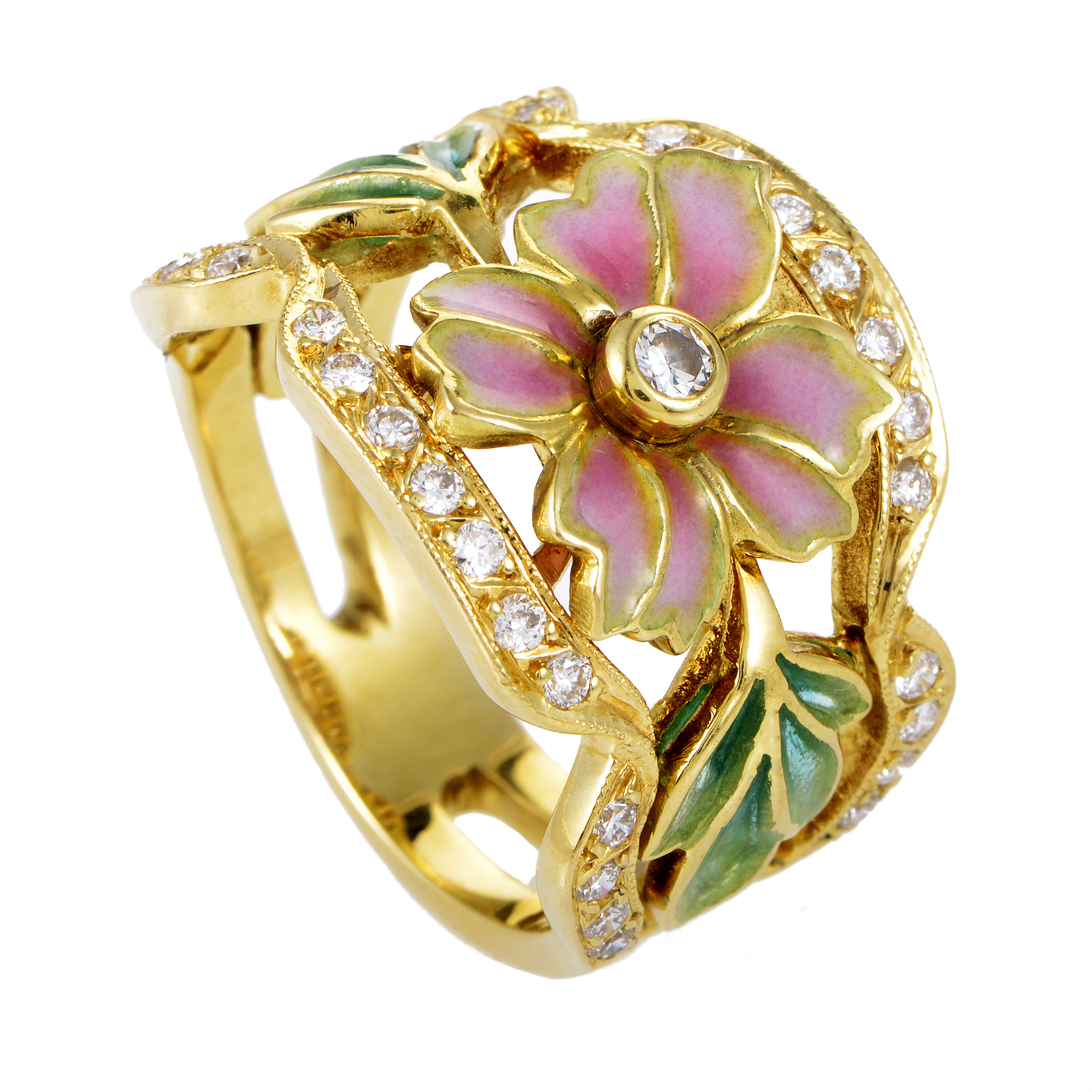Masriera Women's Enameled 18K Yellow Gold & Diamond Flower Band Ring