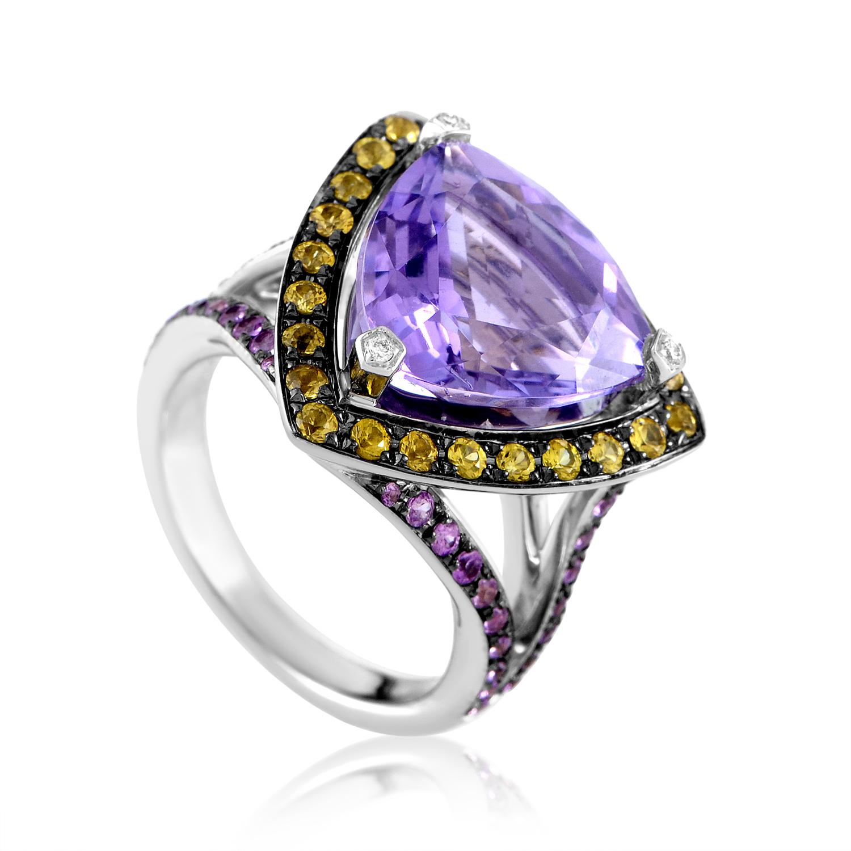 Mauboussin Women's 18K White Gold Multi-Sapphire & Amethyst Ring