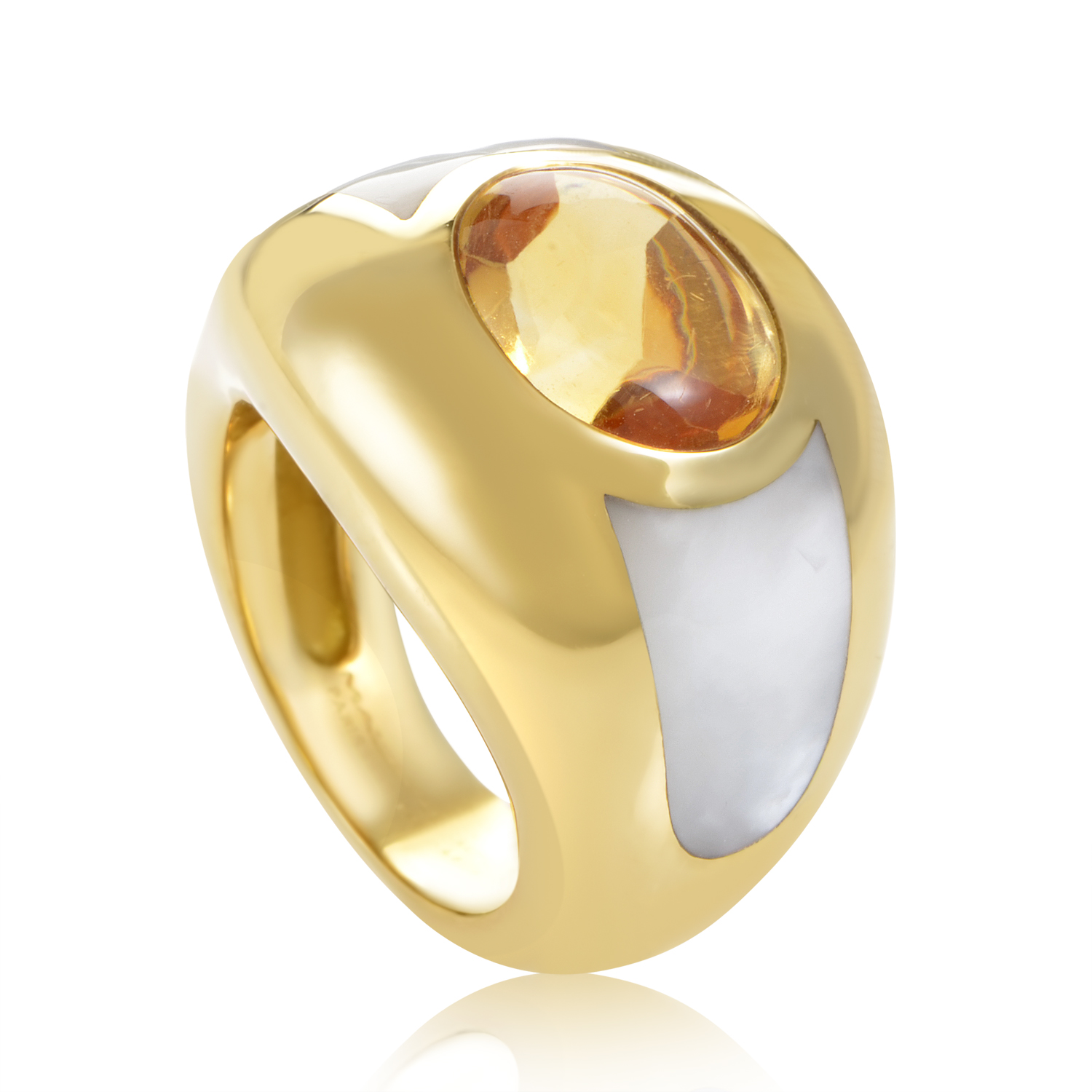 Mauboussin Women's 18K Yellow Gold Citrine & Mother of Pearl Ring