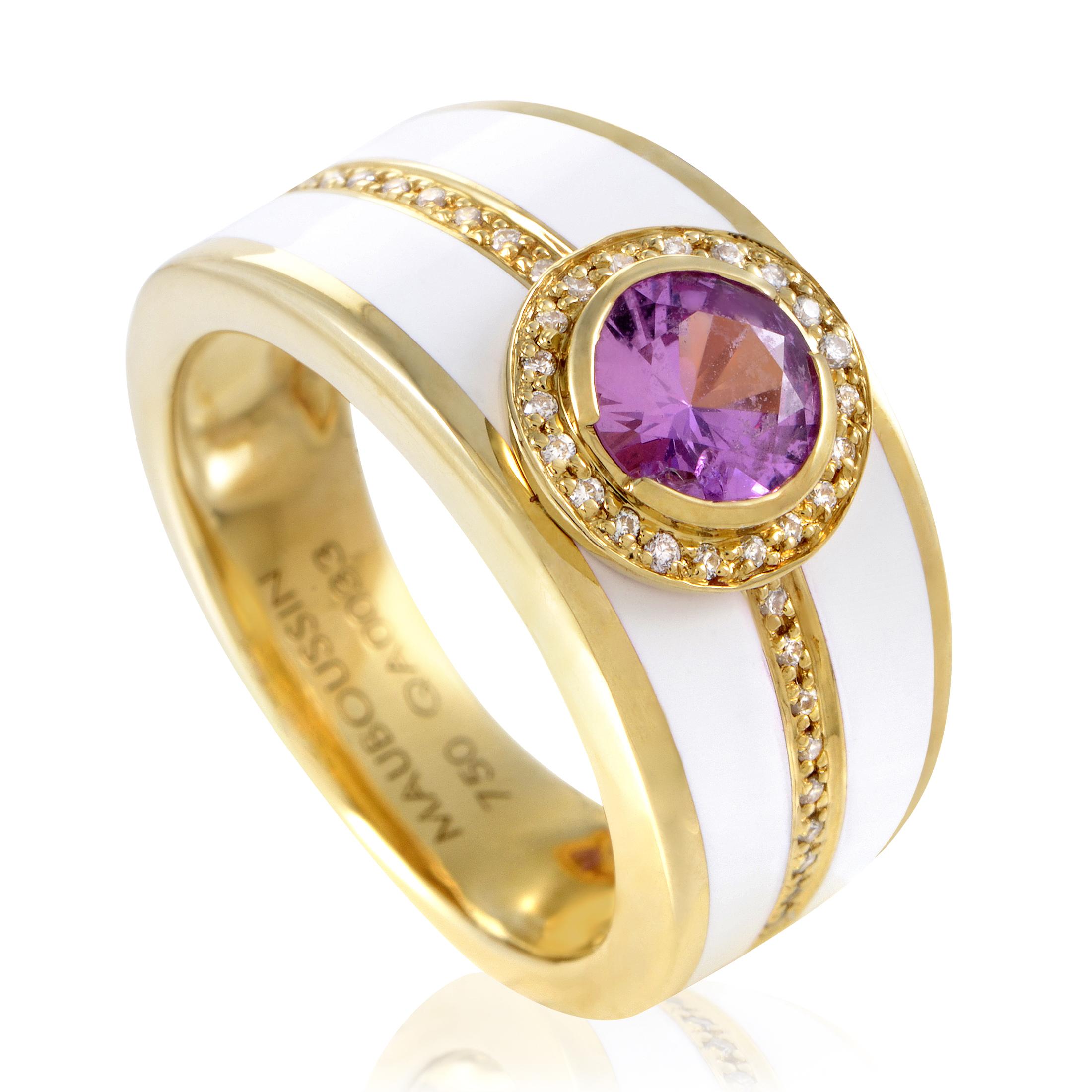 Mauboussin Women's Enameled 18K Yellow Gold Diamond & Tourmaline Band Ring