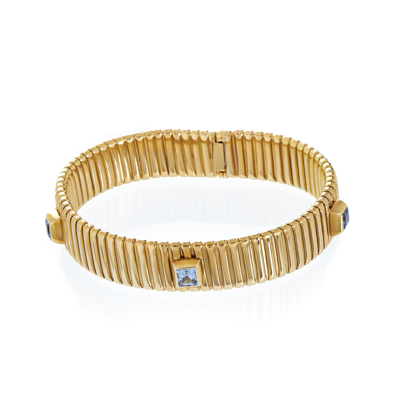 Women's 18K Yellow Gold Aquamarine Bracelet