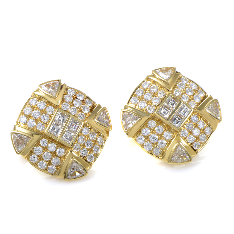 18K Yellow Gold Diamond Pave Earrings MFC02-032614