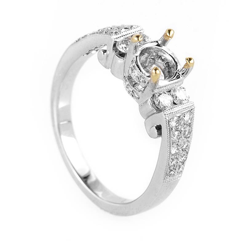 Feminine 18K White Gold Diamond Engagement Ring Mounting