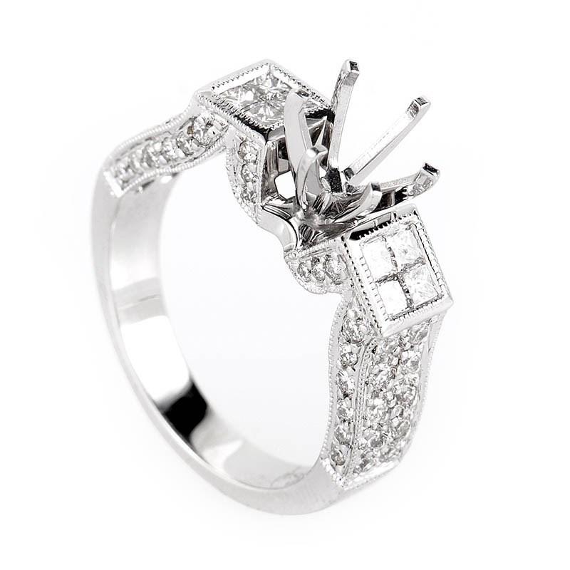 Avant Garde 18K White Gold Diamond Engagement Ring Mounting