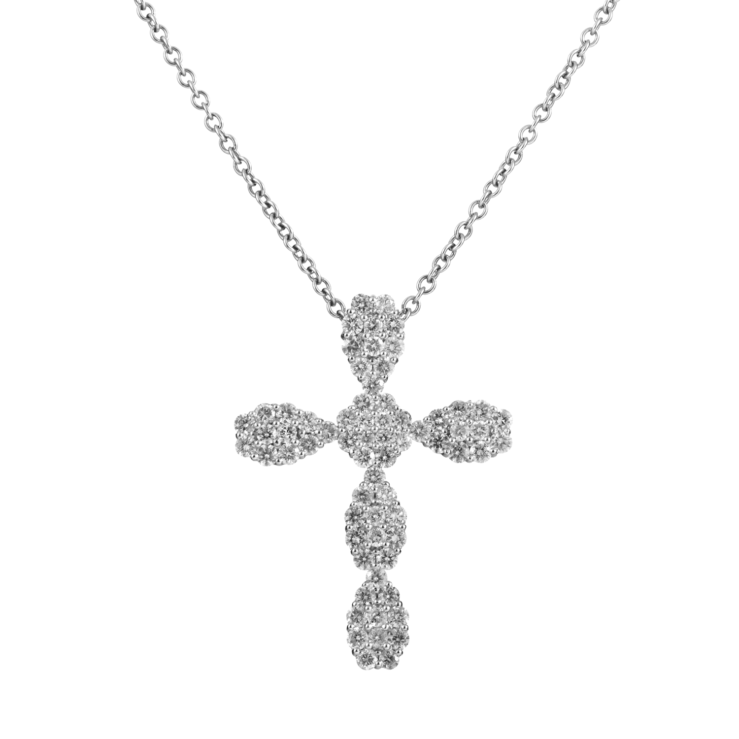 18K White Gold Diamond Pave Cross Pendant Necklace EC-19-031616