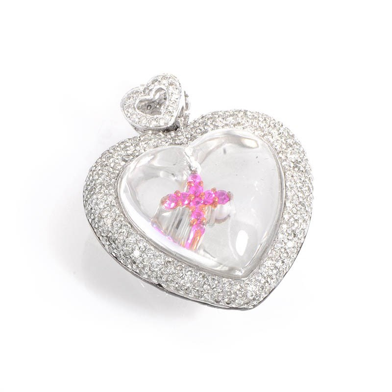 18K White & Rose Gold Diamond Heart Pendant