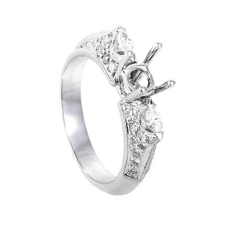 Glittering 18K White Gold Diamond Setting