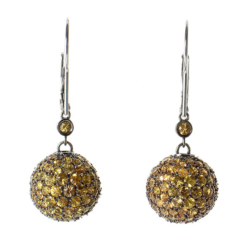 14K White Gold Orange Sapphire Drop Earrings