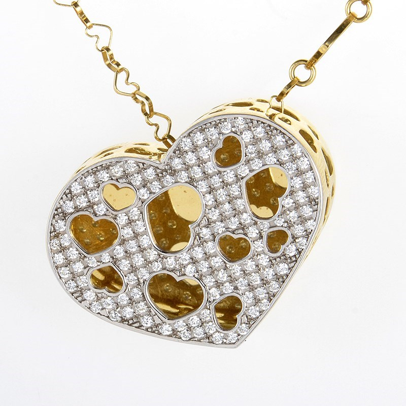 18K Yellow Gold Diamond Open Heart Pendant Necklace