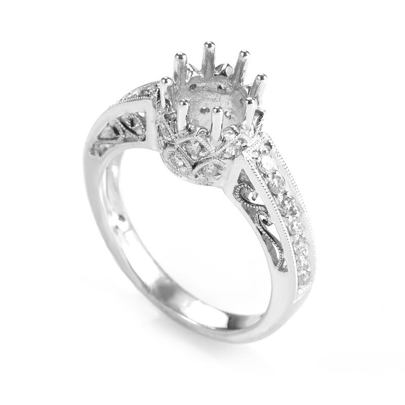 18K White Gold Unique Diamond Set Engagement Ring Setting